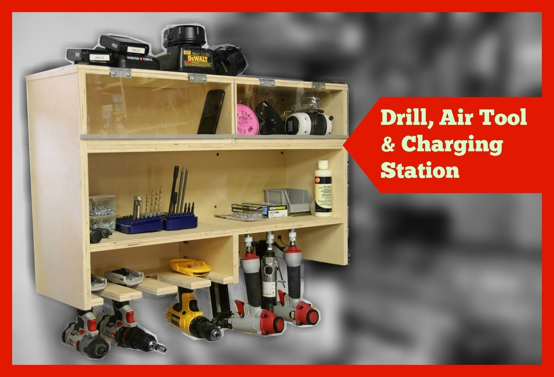 Hanging Charging Station Drill Charging Station With Air Tool Storage And Dust Free Bins